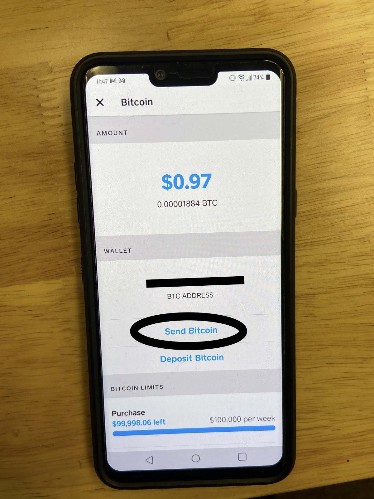Image depicting a screenshot in CashApp - Indicating to select the Send Bitcoin option