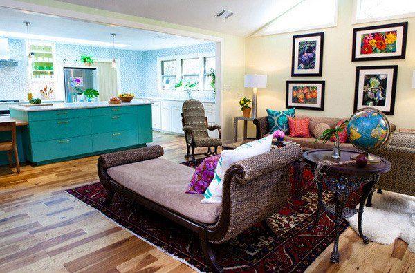 Màu sắc vàvật dụng nội thất khác nhau giúp không gian phòng khách có được lối trang trí độc đáo vintage