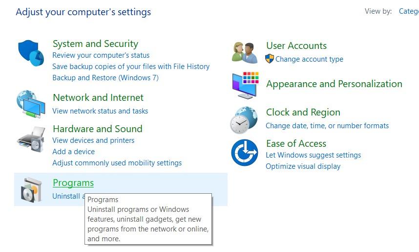 Programs settings in the Windows Control Panel