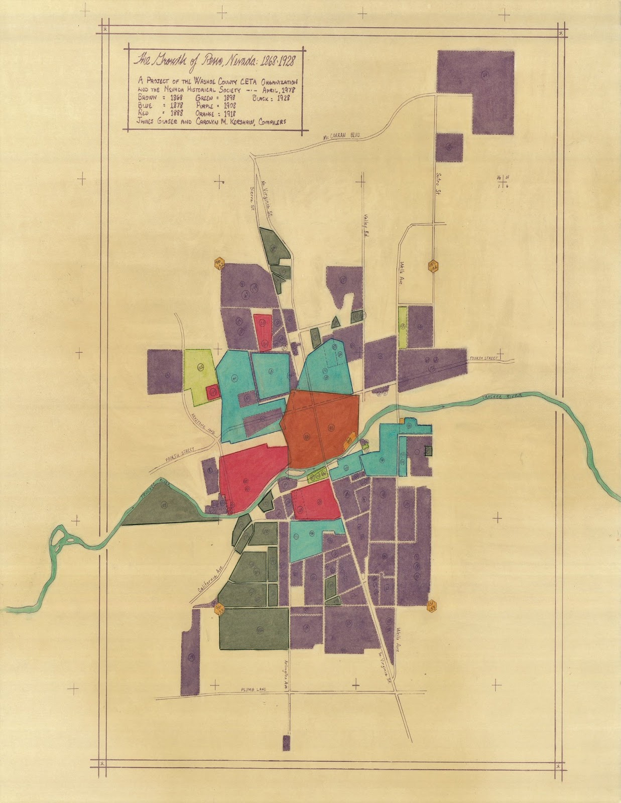A map showing local development from 1868-1928 and color coded by the year it was developed shows that some of Reno's most historic structures and neighborhoods are located in Ward 1, Barber said. The brown pentagon shape in the middle was the original 1868 plat map, and then it expanded outward, making preservation a key issue in the ward.