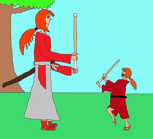 Kenshin bonds with Kenji over a friendly spar.