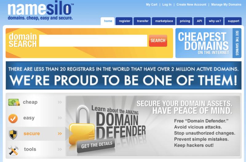 Le site web NameSilo est dépassé et dément sa force en tant que bureau d'enregistrement de domaines de premier niveau