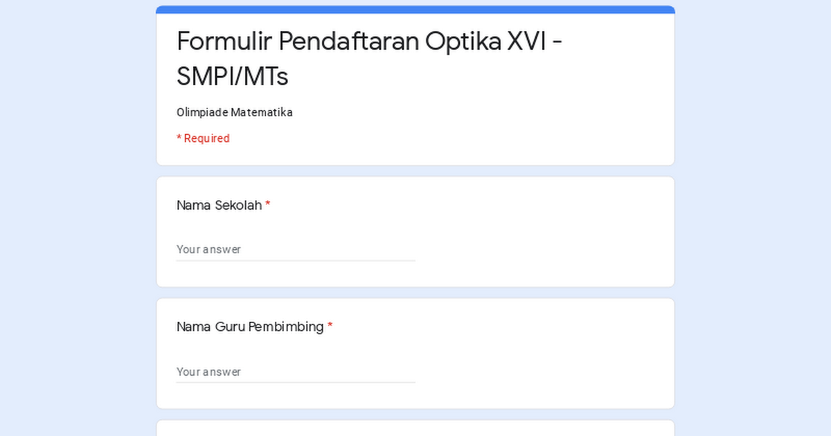 Formulir Pendaftaran Optika Xvi Smpi Mts