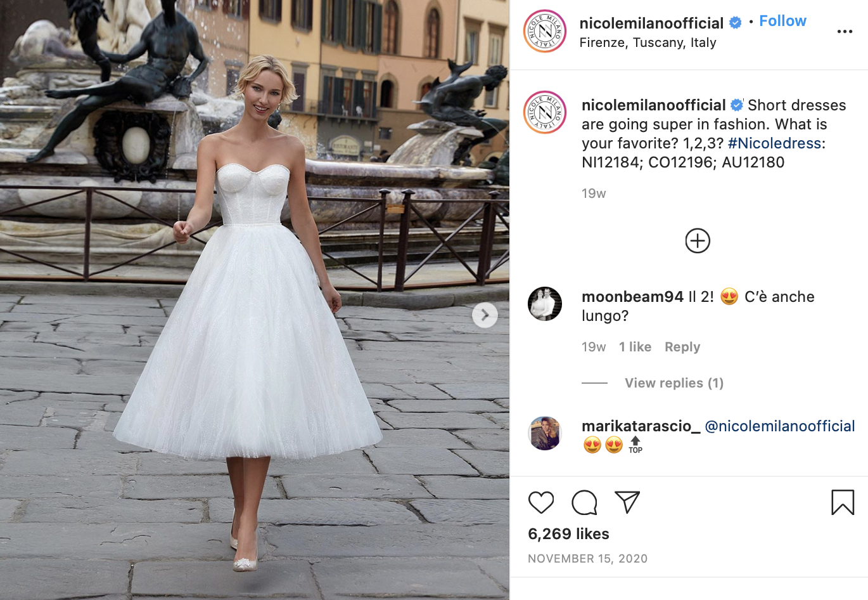 woman in a short wedding dress