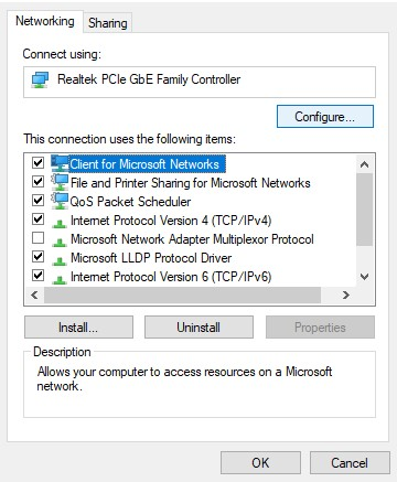 The networking tab in adapter properties