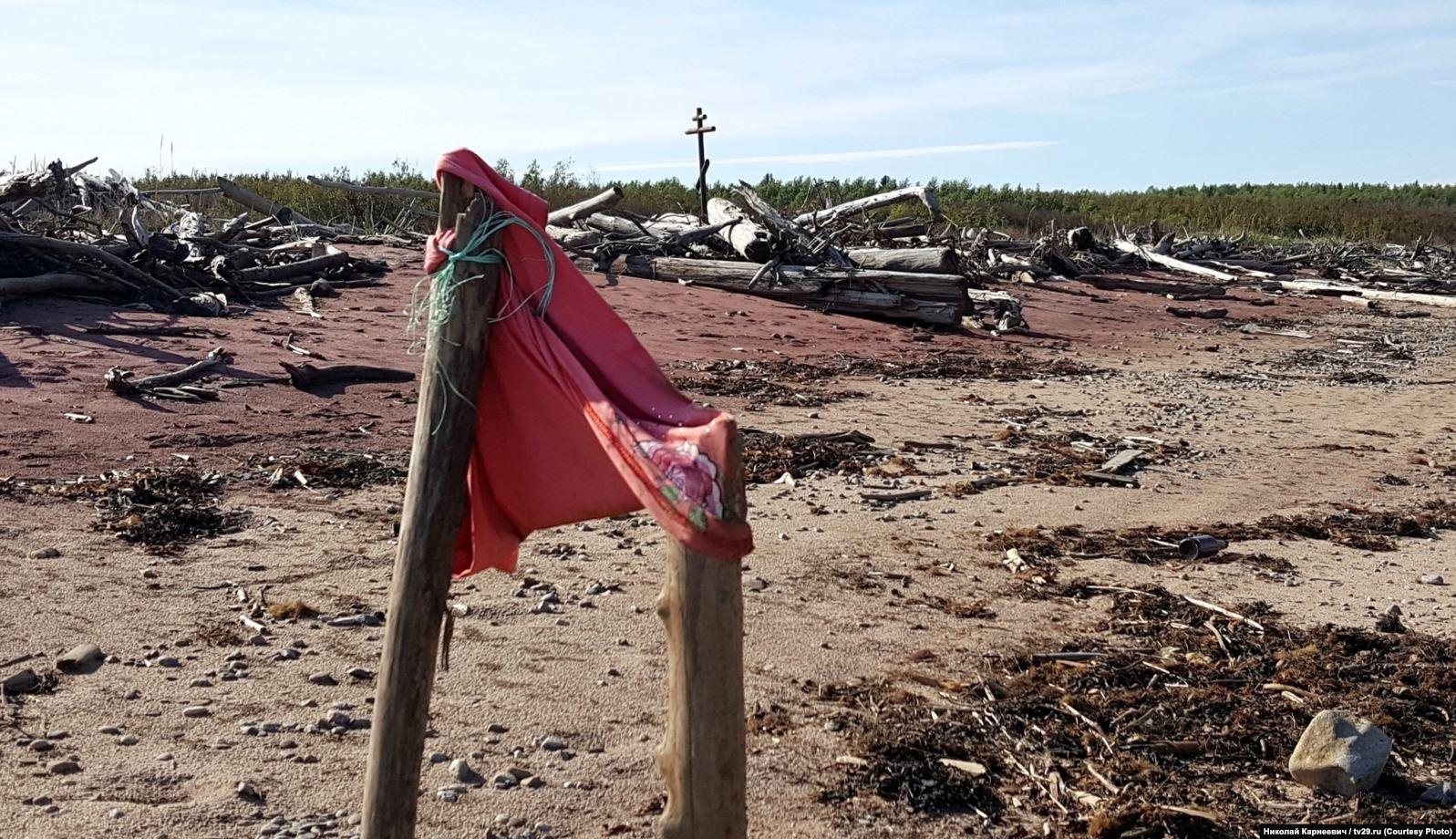 Берег Двинского залива в районе нынешнего местонахождения понтонов, вид в сторону Нёноксы