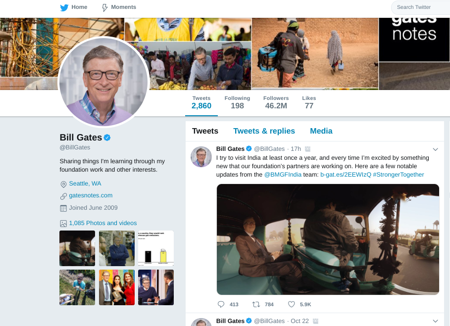 bill gates twitter account