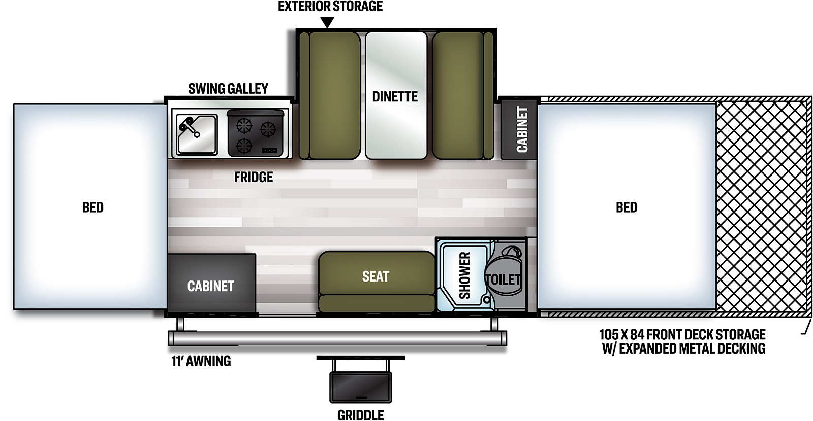 Forest River Flagstaff 28TSCSE floorplan  with space for two atvs