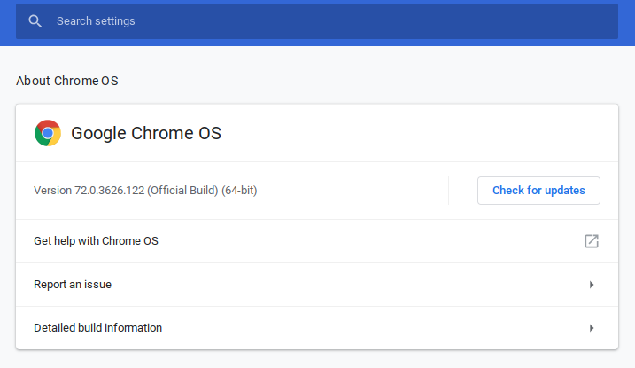 Chromebook Updates Menu