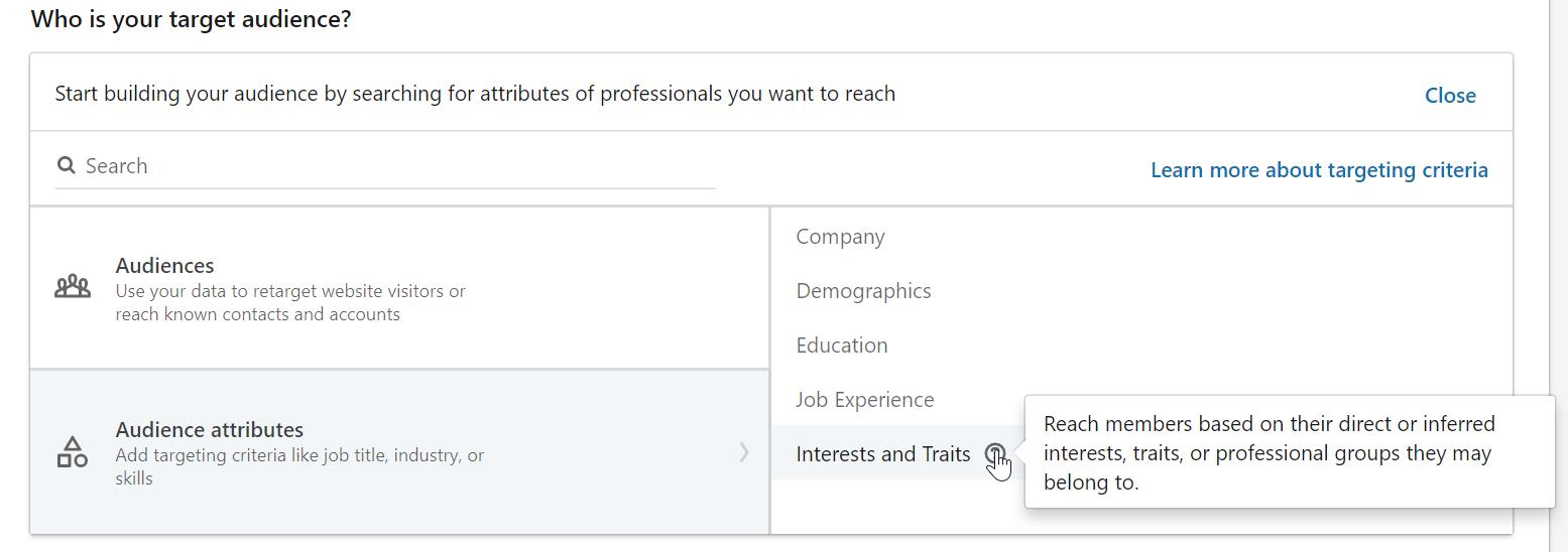 Attributs d'audience LinkedIn