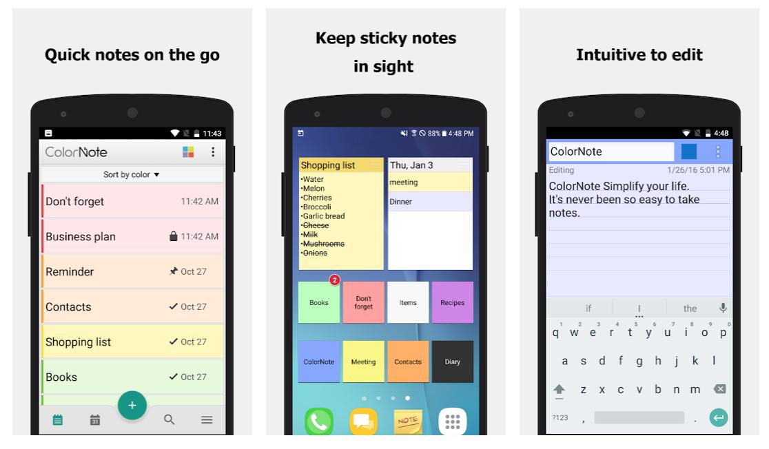 free notes app ColorNote screenshots