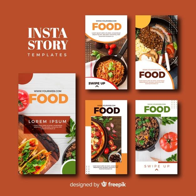 Free Vector | Food instagram stories template collection