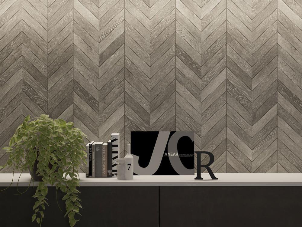 Wood-look tile backsplash in a chevron tile layout