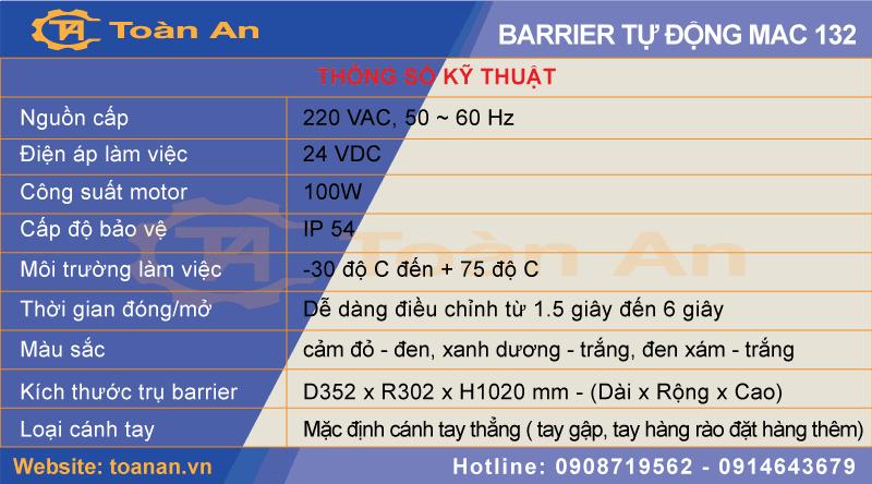 Thông số kỹ thuật barrier tự động mac 132