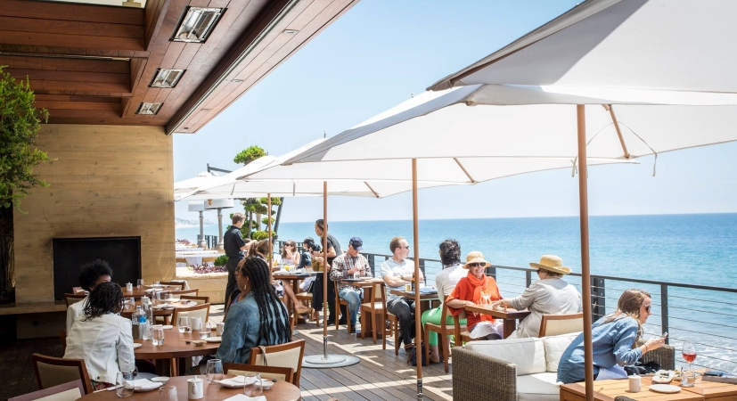 Patrons dine at Nobu Malibu restaurant in Malibu, CA.