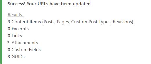 mensgaem de alteração de url wordpress com sucesso