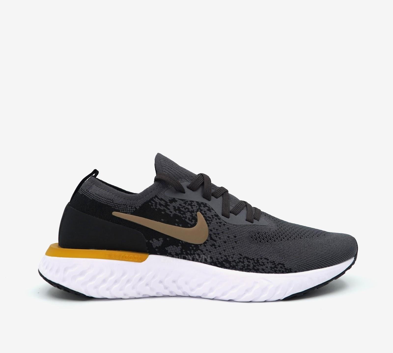 "Giày Nike Epic React Flyknit ""Grey/Black Gold"""