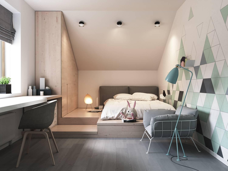 Phòng ngủ nhỏ với đồ nội thất gỗ công nghiệp