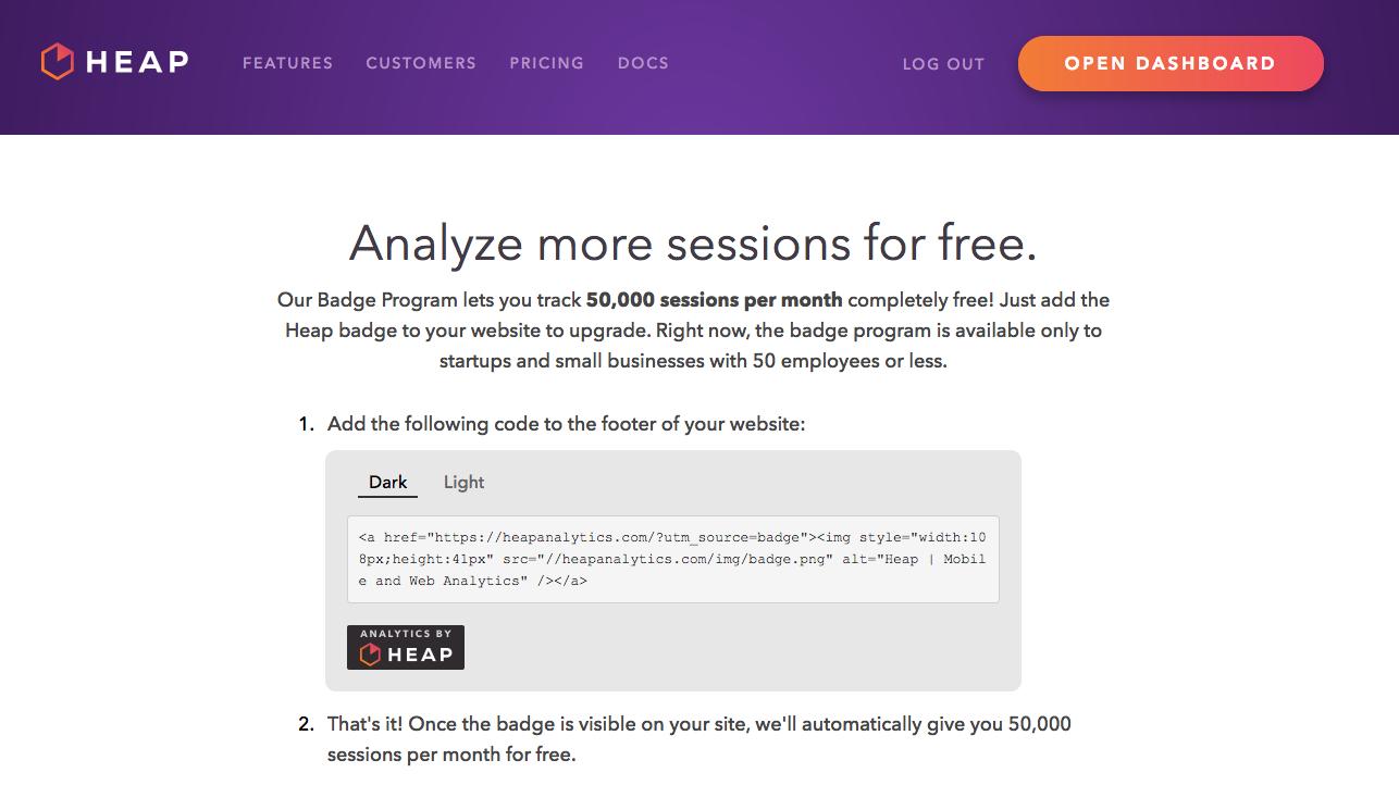 Heap Analytics referral program page.