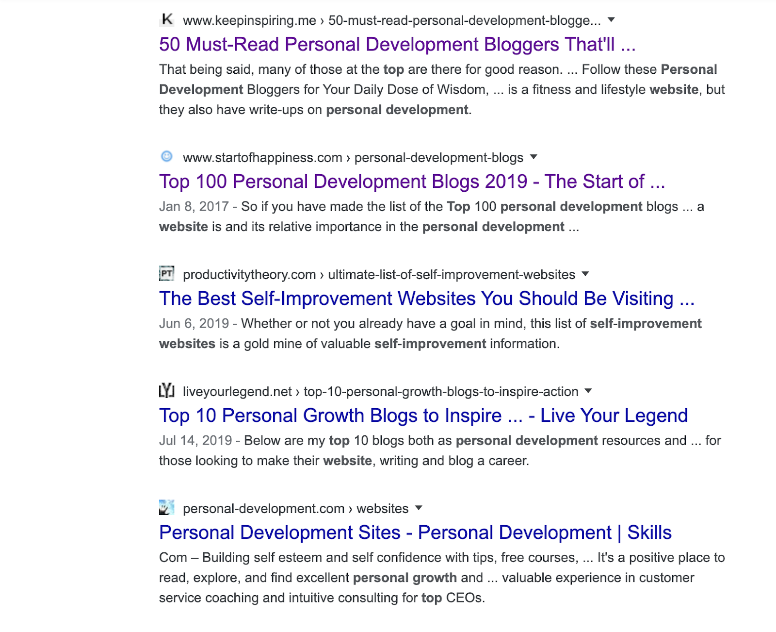 second serp for personal development websites