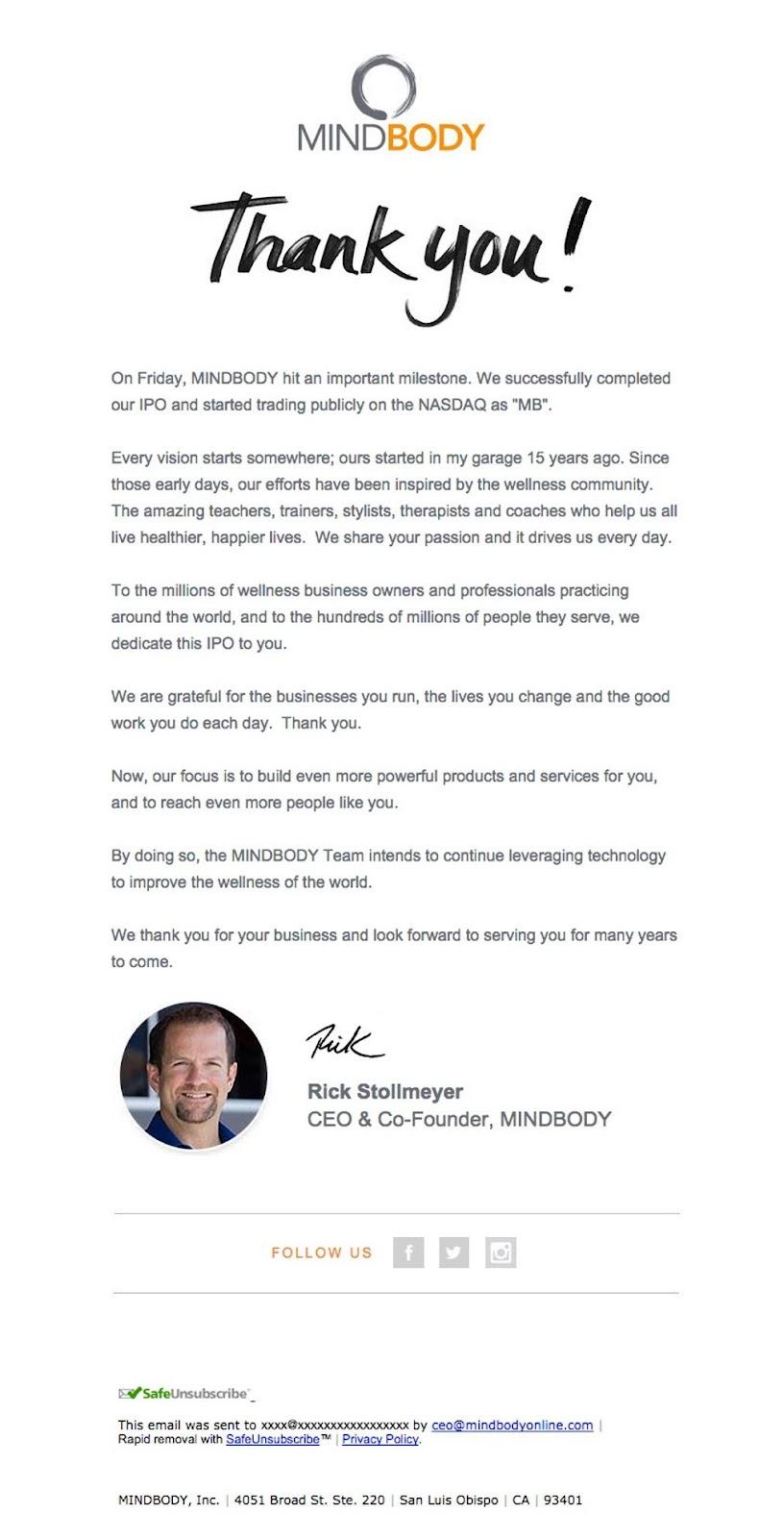 MindBody newsletter