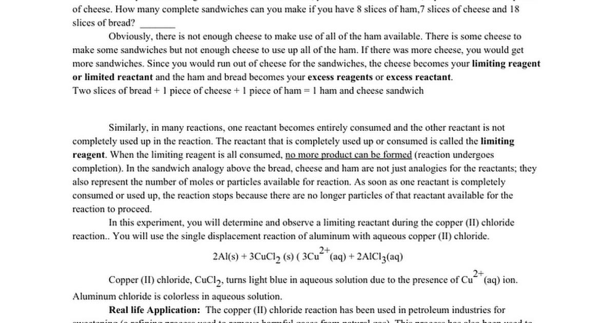 Copper Chloride And Aluminum Limiting Rxn Lab Google Docs