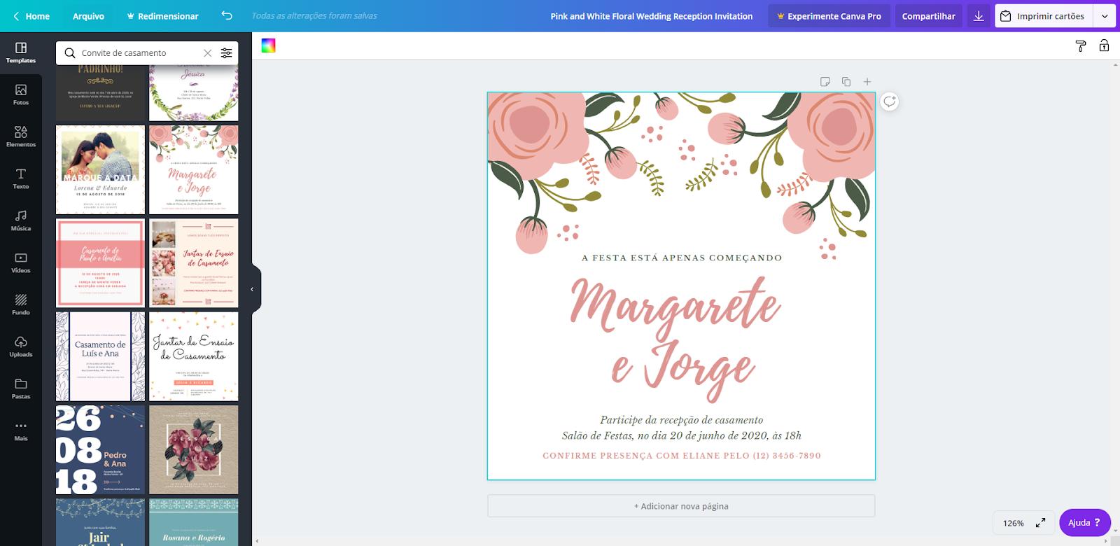 Escolher Modelo Convite de Casamento