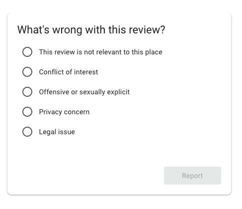 Screen capture of an inappropriate review report.