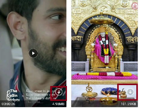 Click on arrow icon to download video.