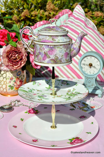 mad tea party pink vintage china teapot top cake stand