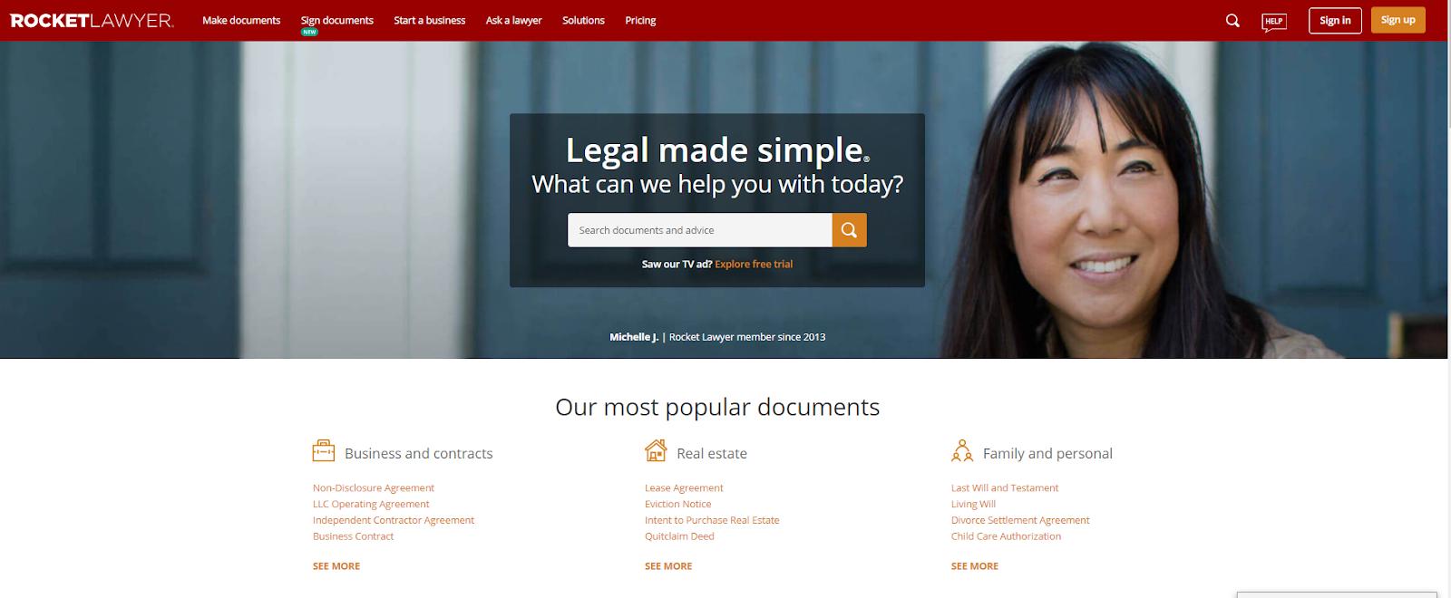 Rocket Lawyer website
