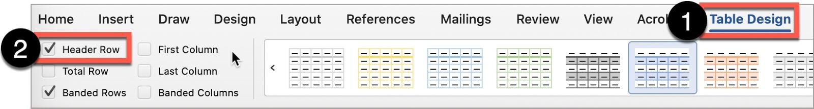In the Microsoft Word Table Design ribbon, to create a header row, ensure the Header Row box is checked.
