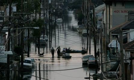 Flooding in New Orleans after Hurricane Katrina in September 2005.