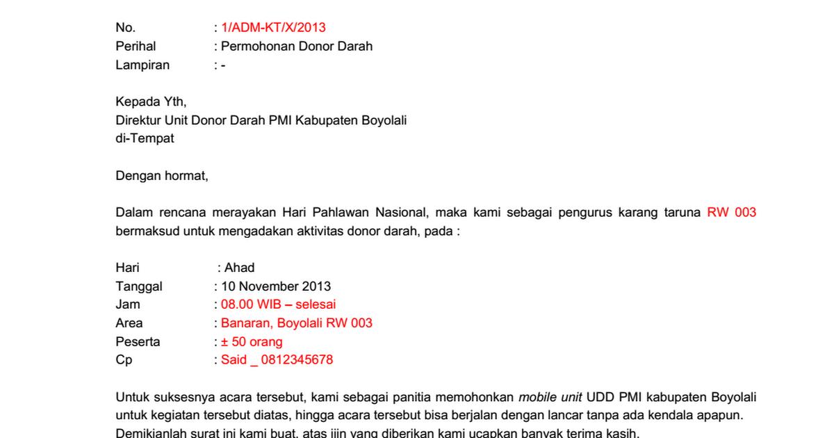 Contoh Surat Permohonan Donor Darah Docx Google Drive
