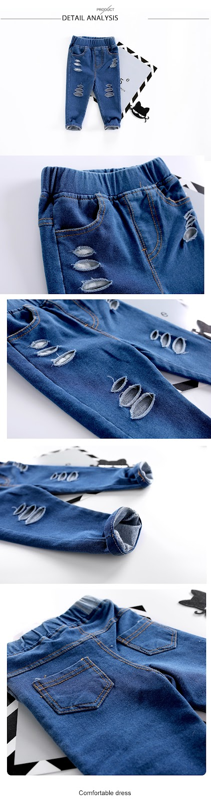 spodnie z dziurami dla dziewczynek
