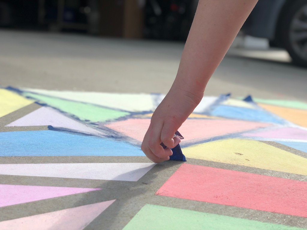 Easy Stained Glass Sidewalk Chalk Art Using Painter's Tape | Hip2Save