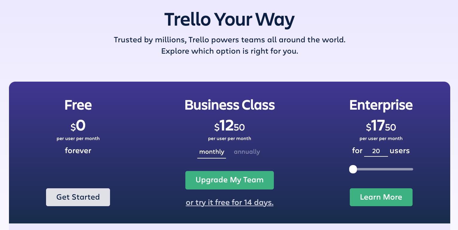 Trello monthly pricing chart social media calendar