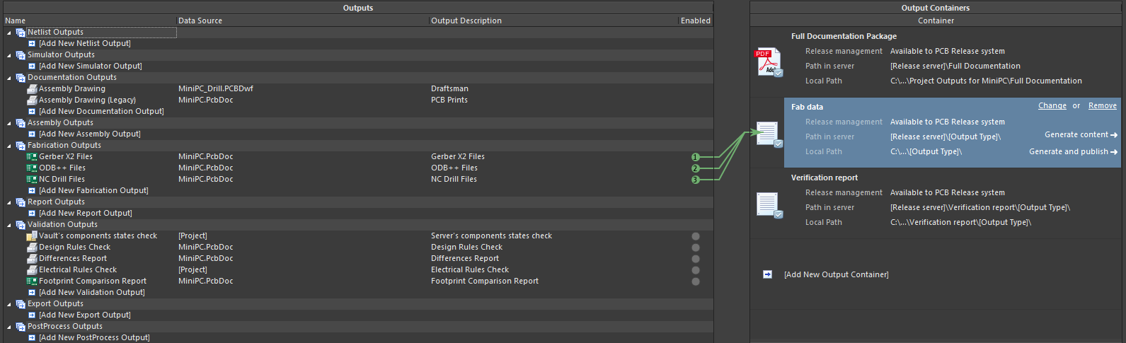 Altium Designer screenshot showing configuration of output job needed for the build system