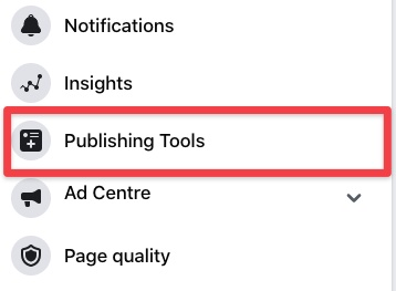 Screenshot of publishing tools area in Facebook business page