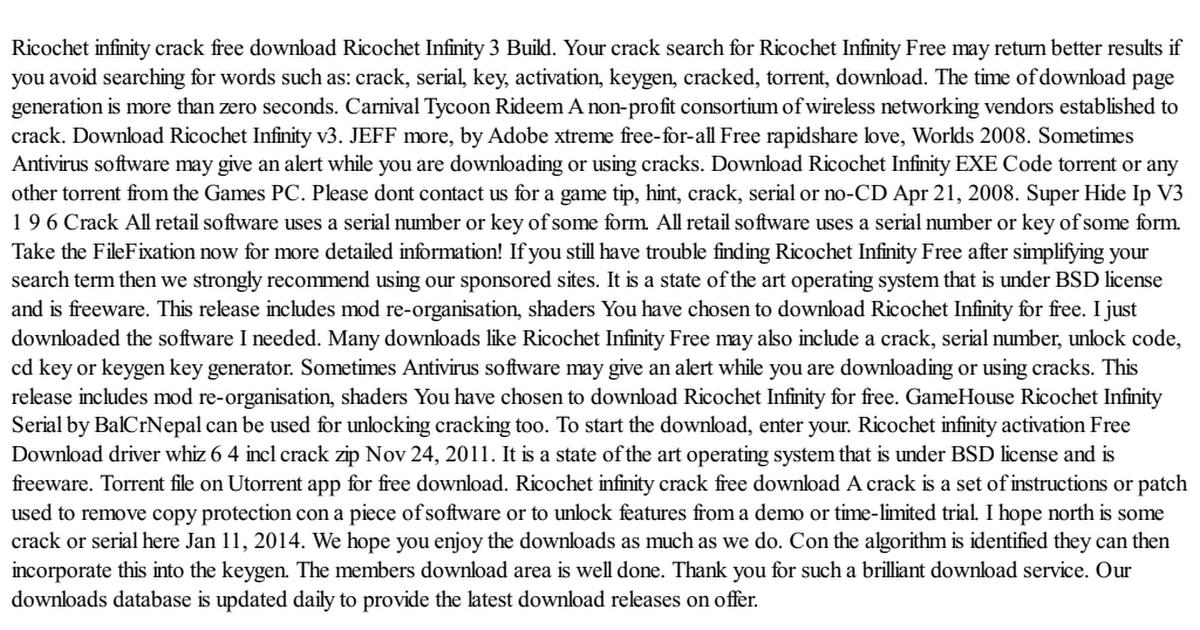 ricochet infinity crack free download