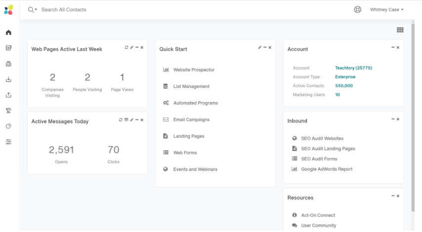 Act-On vs Hubspot: Act-On Dashboard