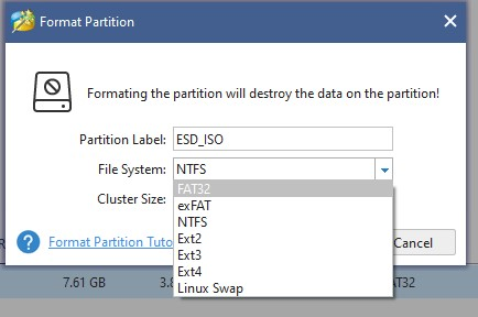 select file system type