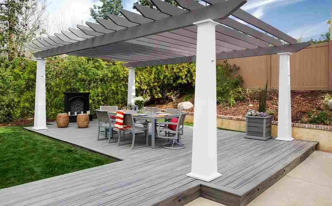 use a pergola to cool down decking