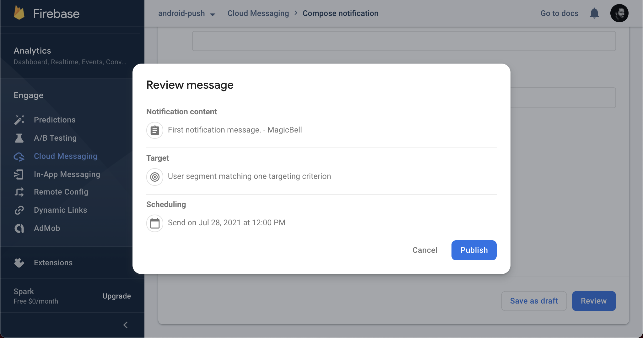 Review and publish your notification