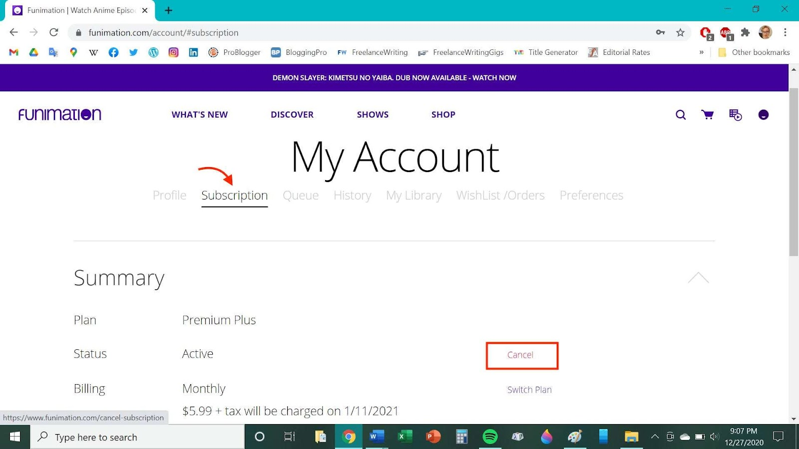 """Step 4: Here on the """"My Account"""" page, you are required to locate the """"Subscription"""" tab and click on it. Afterward, hit """"Cancel"""" to initiate the process of cancellation."""