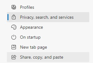 The Privacy, search, and services option in the left pane of the Edge settings