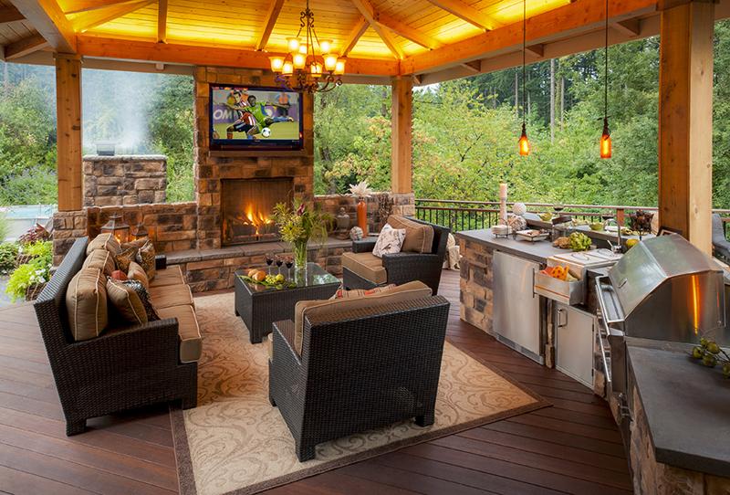 Perfecto para que la familia disfrute, una chimenea al aire libre ...