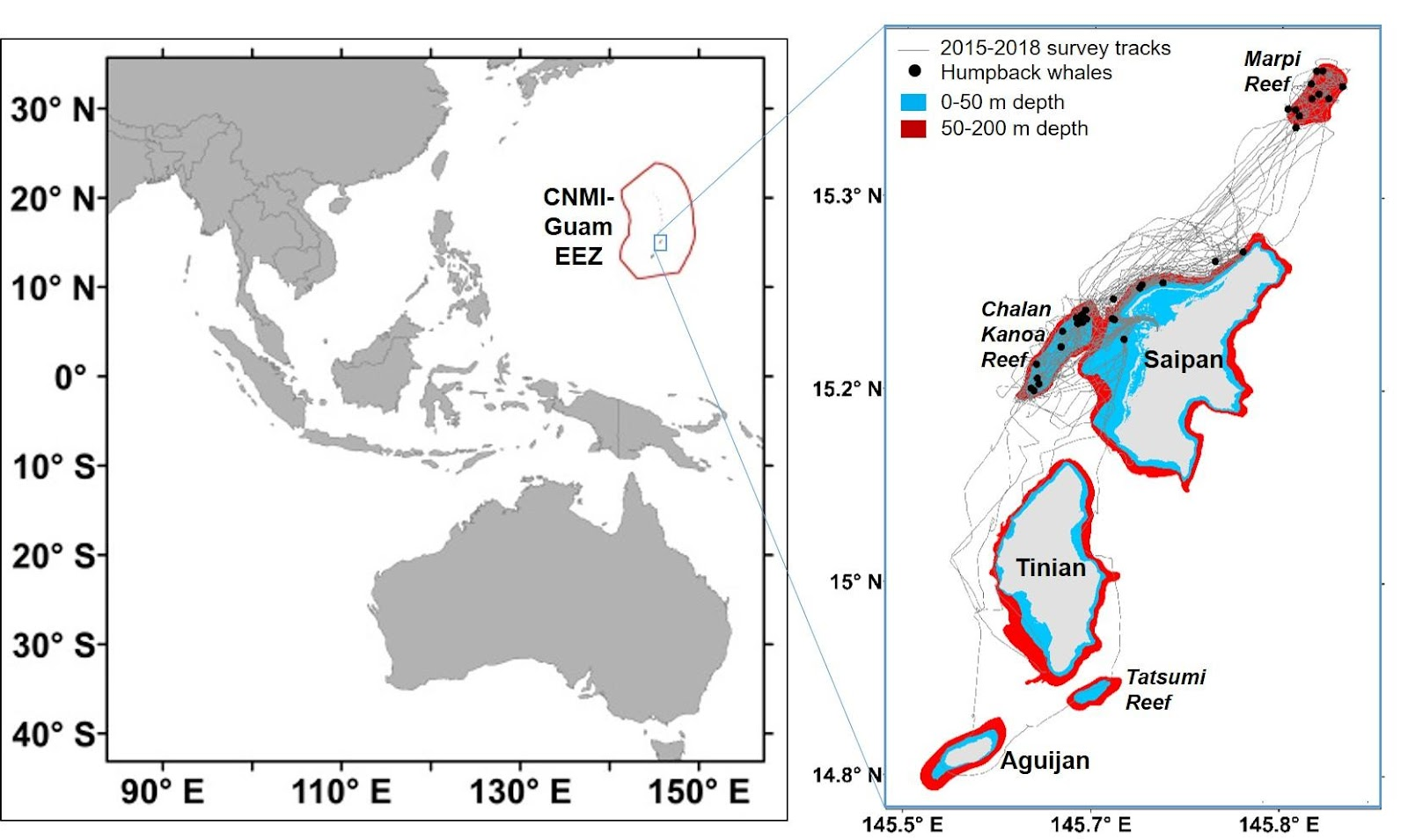 Map images of the Saipan, Tinian, and Aguijan island areas where small-boat surveys for humpback whales are conducted.