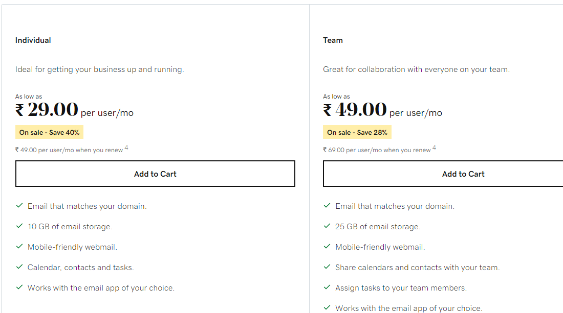 business email prices on godaddy india