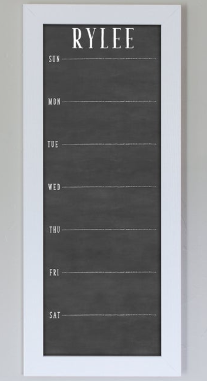 weekly chalkboard calendar with days of the week, gift idea for office